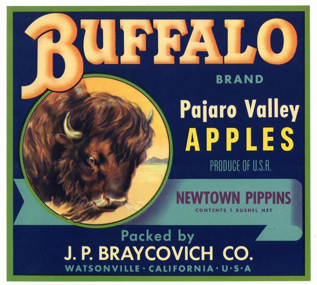 Buffalo Brand Vintage Watsonville Apple Crate Label