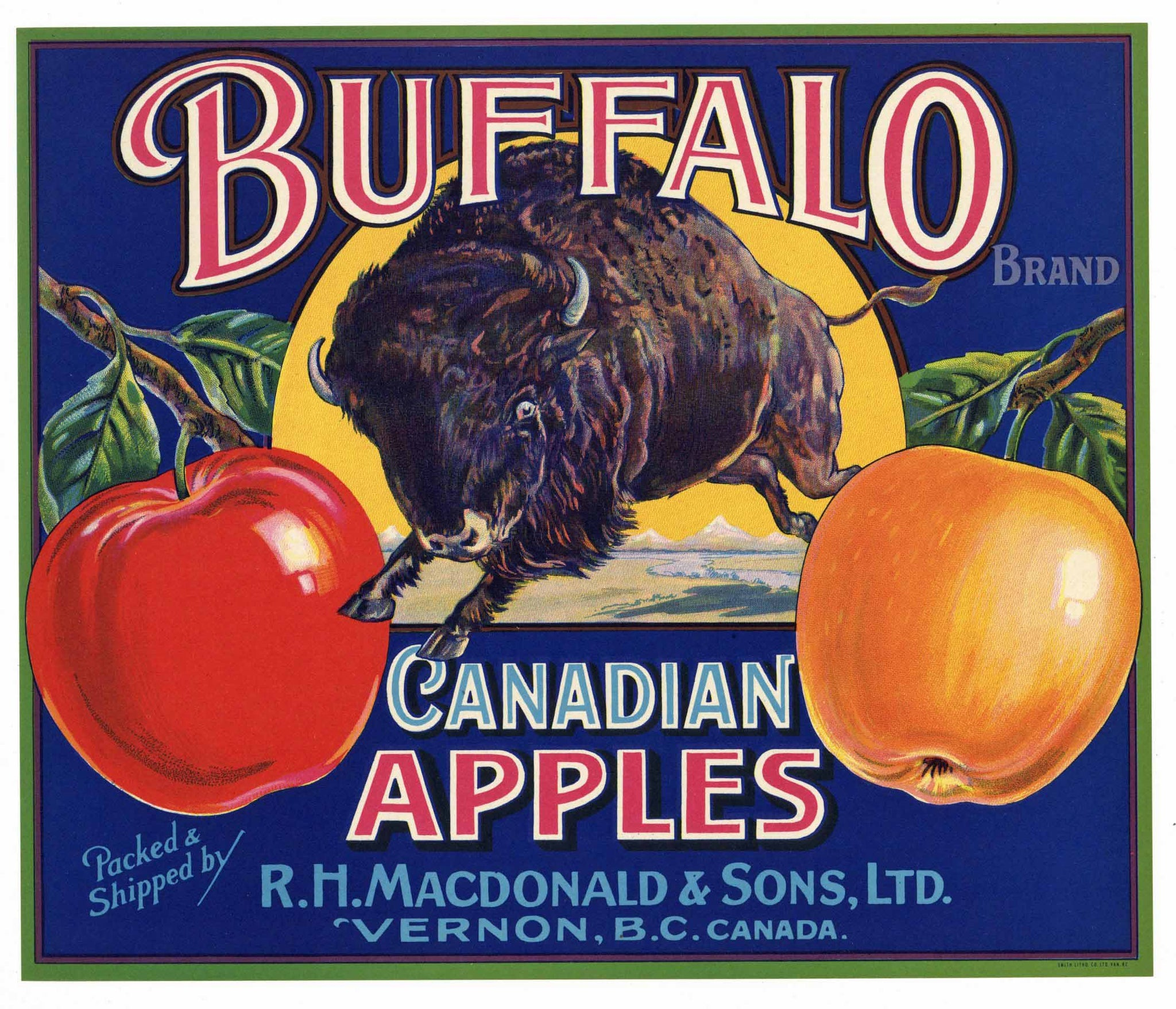 Buffalo Brand Vintage Canadian Apple Crate Label