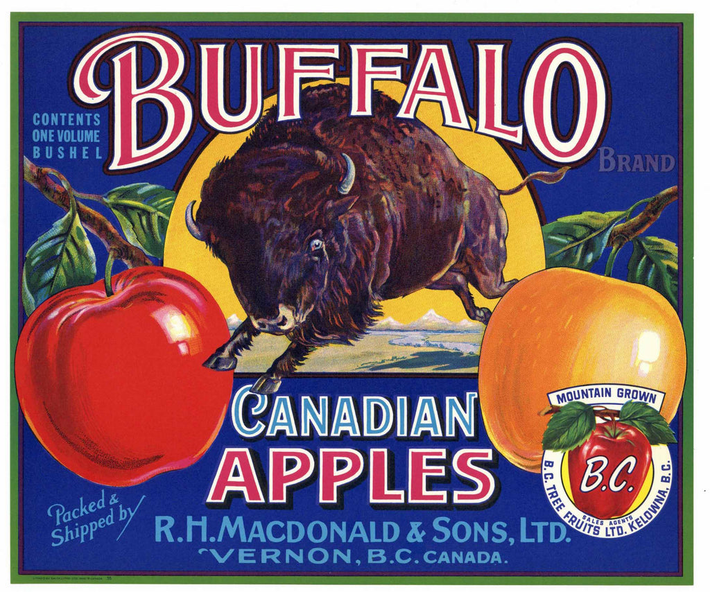 Buffalo Brand Vintage Canadian Apple Crate Label, B. C.
