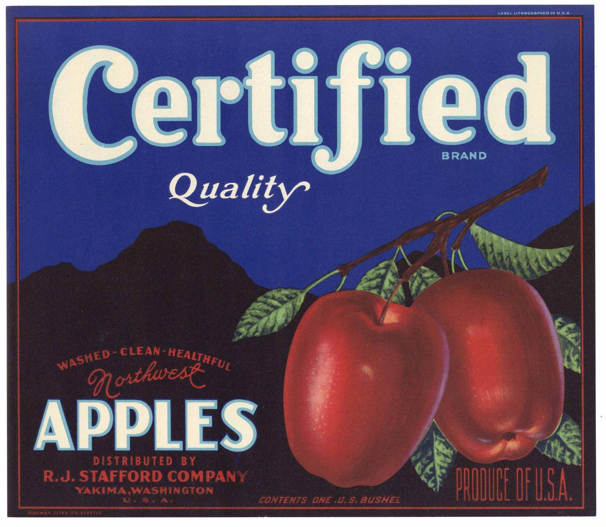 Certified Brand Vintage Yakima Washington Apple Crate Label