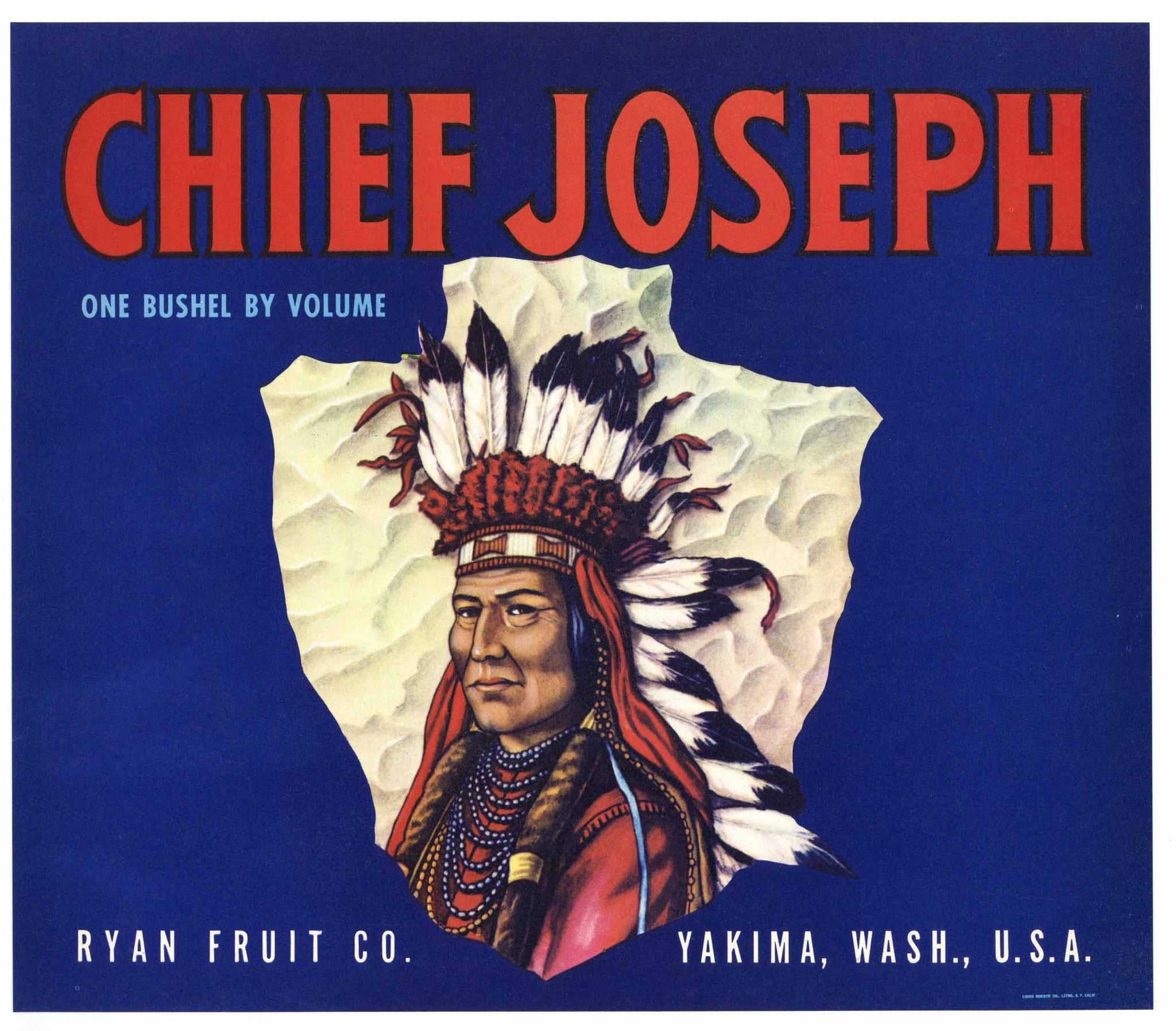 Chief Joseph Brand Vintage Yakima Washington Apple Crate Label