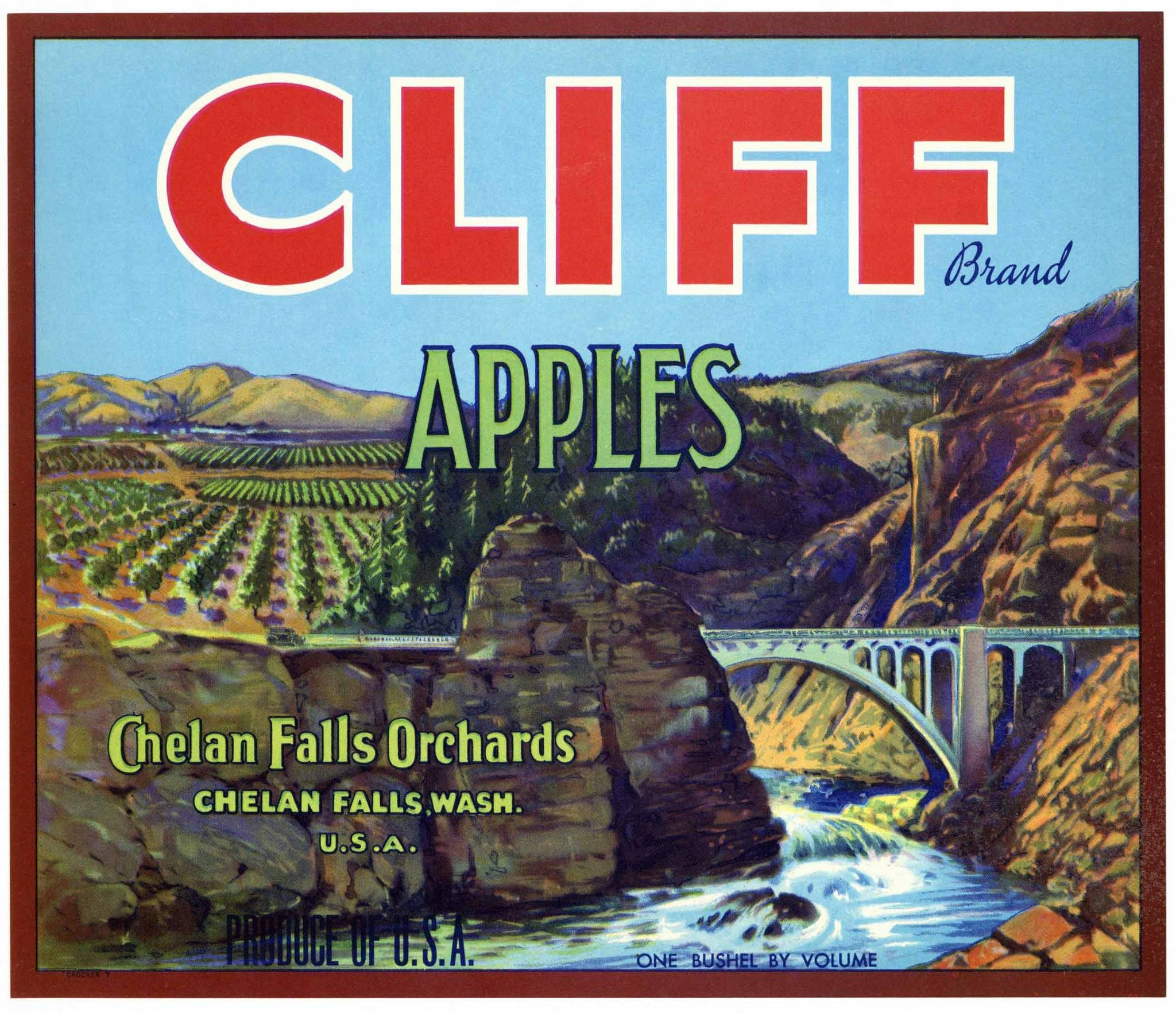 Cliff Brand Vintage Chelan Falls Washington Apple Crate Label