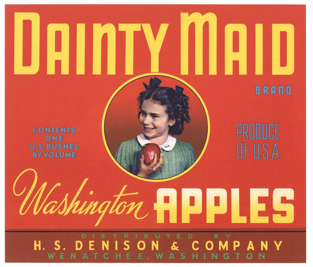 Dainty Maid Brand Vintage Wenatchee Washington Apple Crate Label, red, n