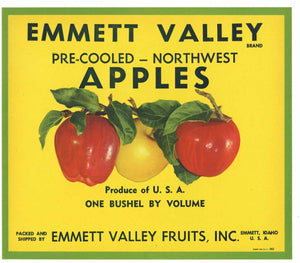 Emmett Valley Brand Vintage Idaho Apple Crate Label
