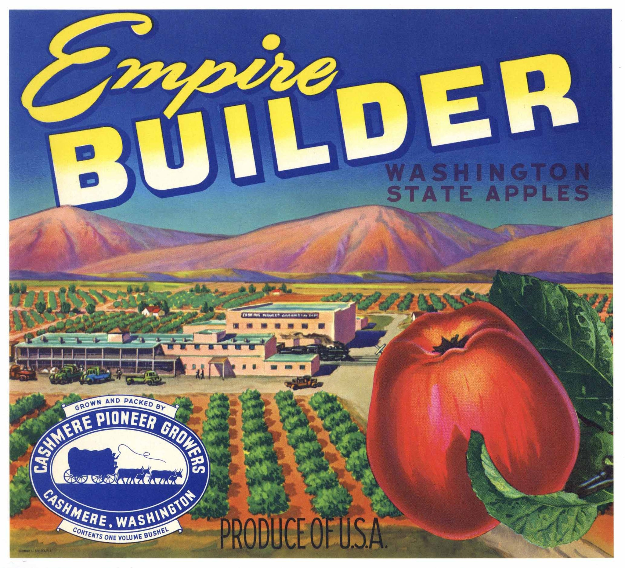 Empire Builder Brand Vintage Cashmere Washington Apple Crate Label, b