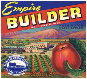 Empire Builder Brand Vintage Cashmere Washington Apple Crate Label, r
