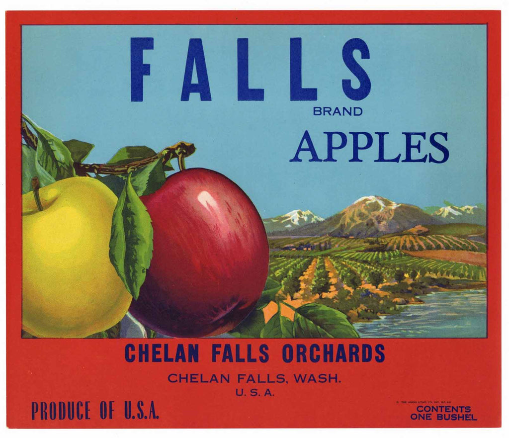 Falls Brand Vintage Chelan Apple Crate Label, s