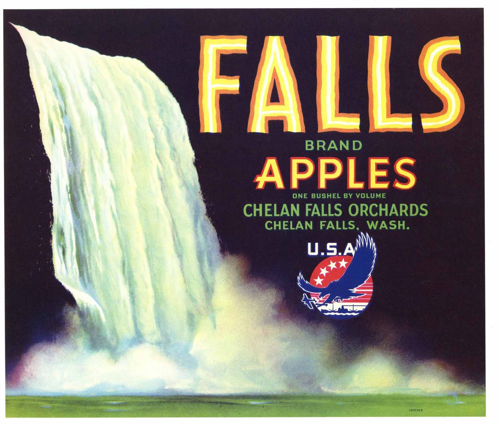 Falls Brand Vintage Chelan Washington Apple Crate Label wf