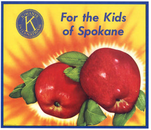 For The Kids Of Spokane Brand Vintage Washington Apple Crate Label