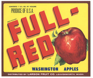 Full Red Brand Vintage Leavenworth Washington Apple Crate Label