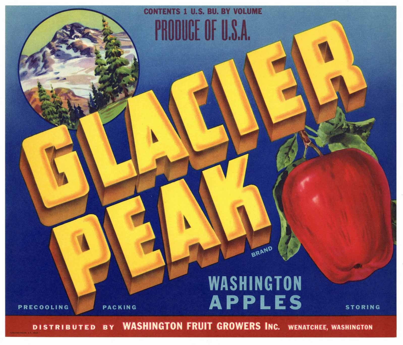 Glacier Peak Brand Vintage Wentachee Washington Apple Crate Label