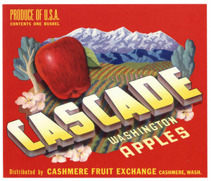 Cascade Brand Vintage Cashmere Washington Apple Crate Label, red