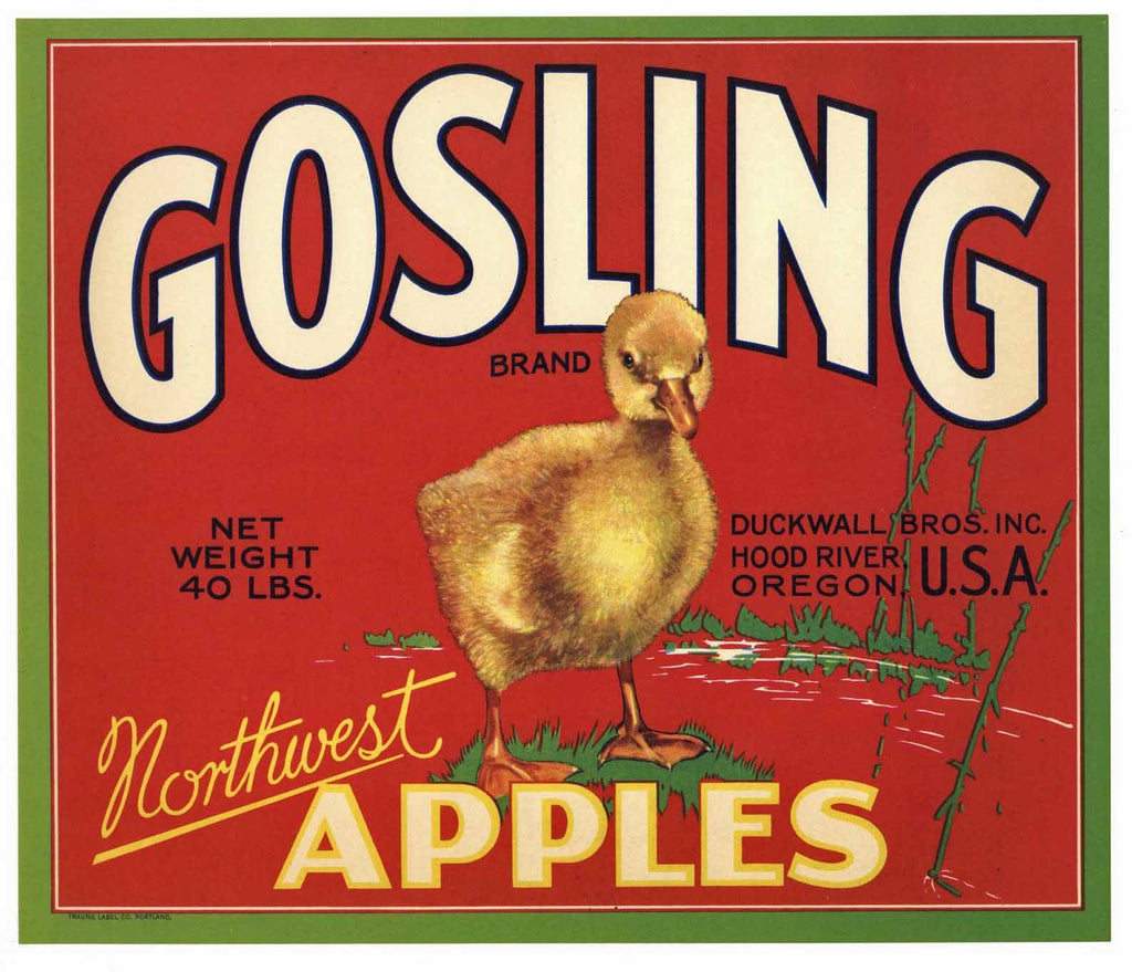 Gosling Brand Vintage Hood River Oregon Apple Crate Label, r