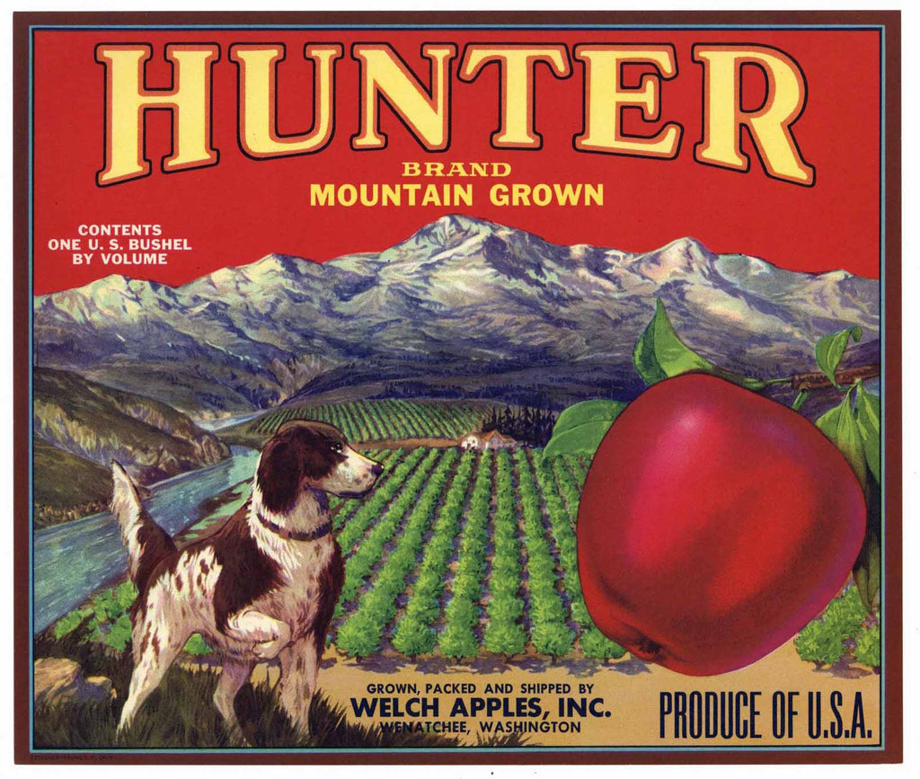 Hunter Brand Vintage Wenatchee Washington Apple Crate Label