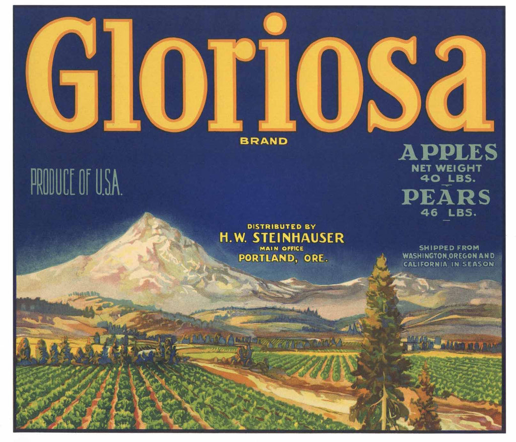 Gloriosa Brand Vintage Oregon Apple Crate Label