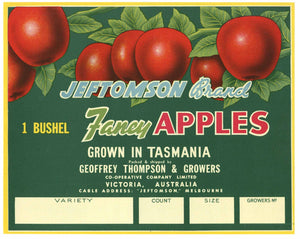 Jeftomson Tasmania Australia Apple Crate Label