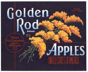 Golden Rod Brand Vintage Yakima Washington Apple Crate Label