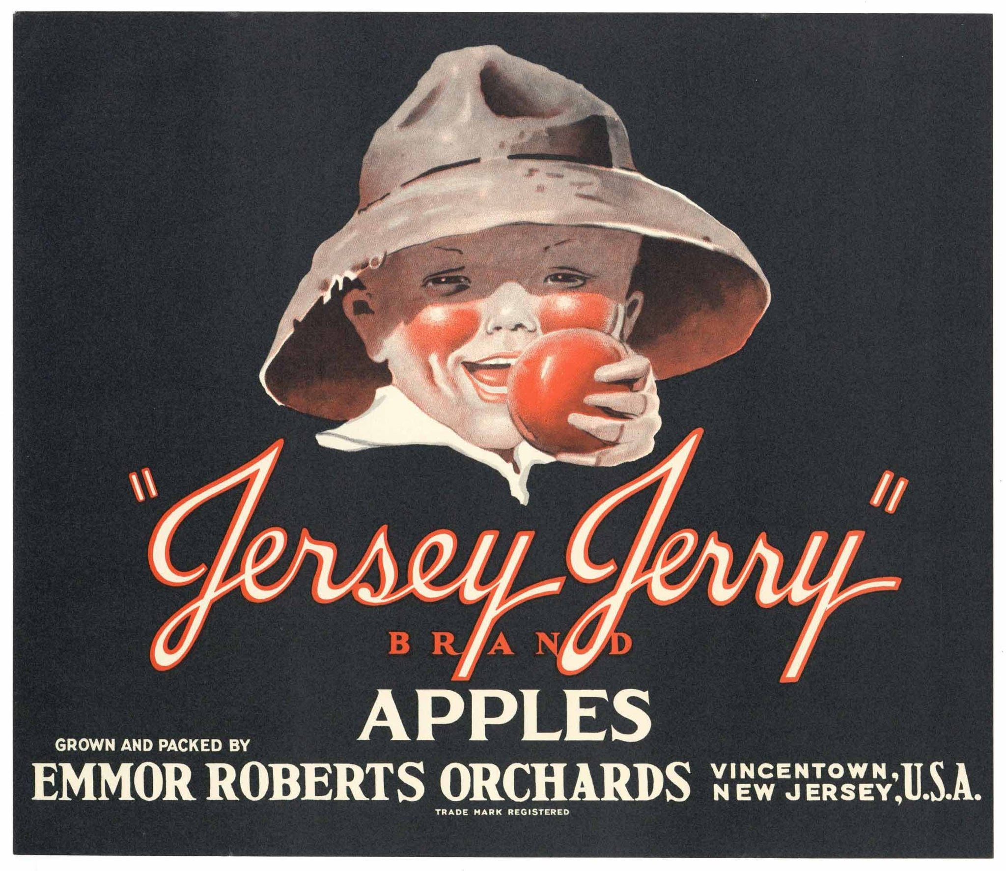 Jersey Jerry Brand Vintage Vincentown New Jersey Apple Crate Label
