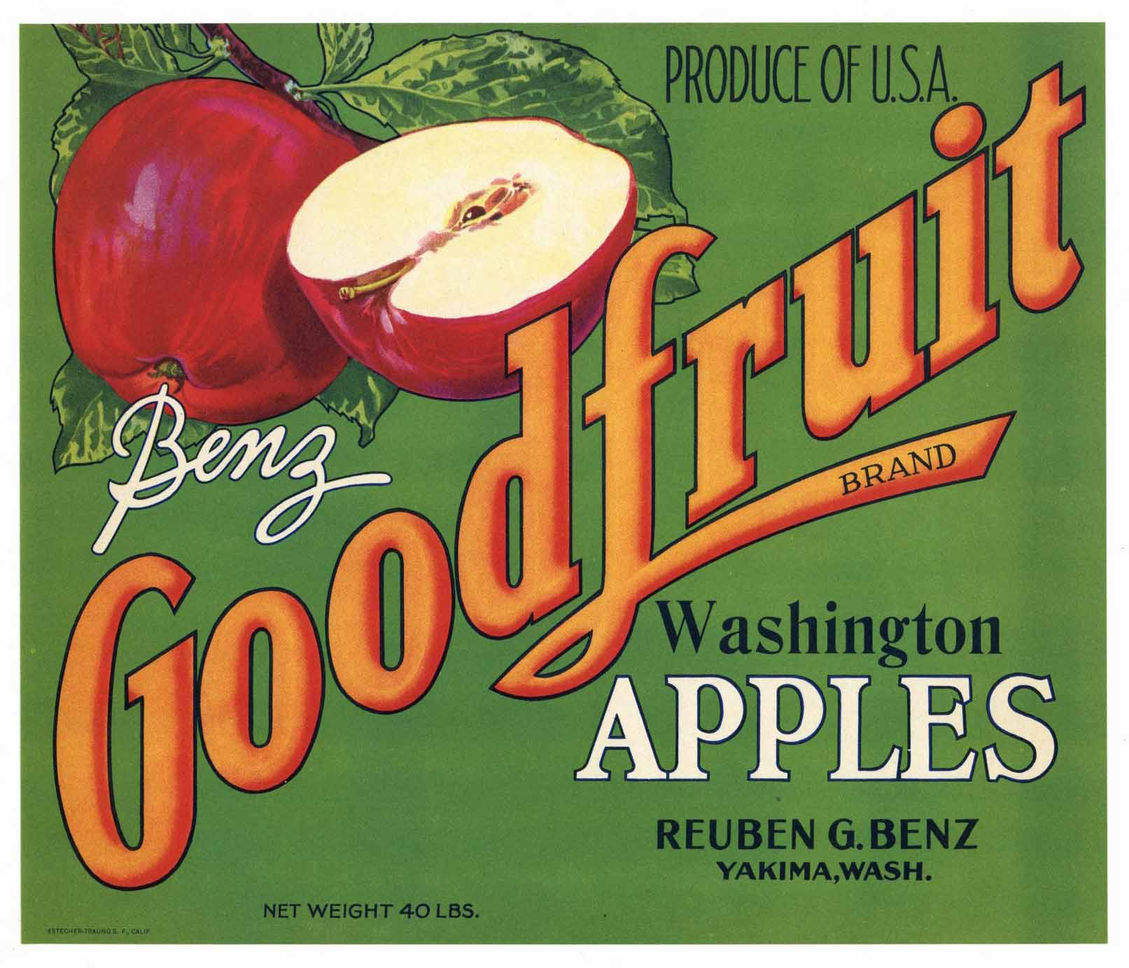 Good Fruit Brand Vintage Yakima Washington Apple Crate Label