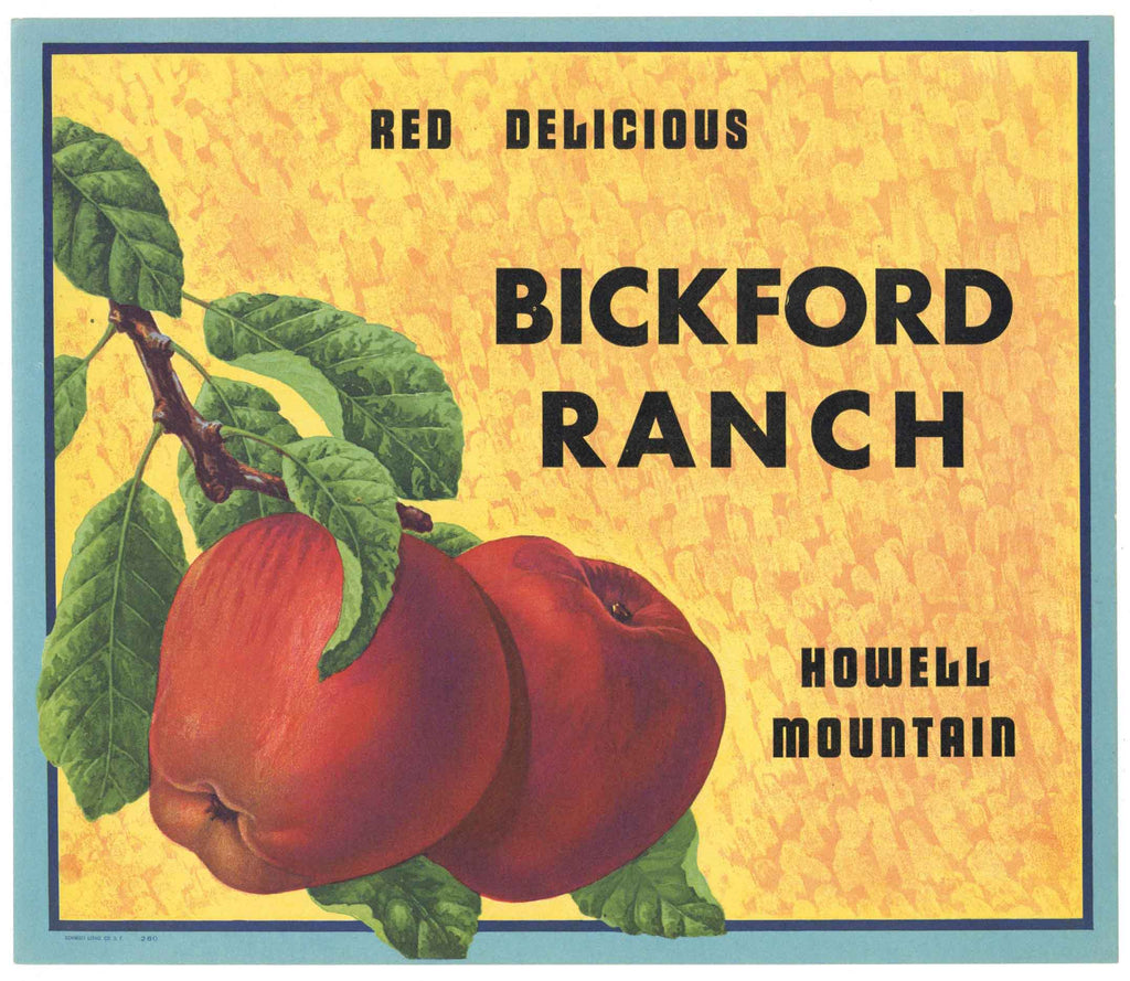 Bickford Ranch Brand Vintage Howell Mountain Apple Crate Label