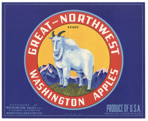 Great Northwest Brand Vintage Wenatchee Washington Apple Crate Label, blue
