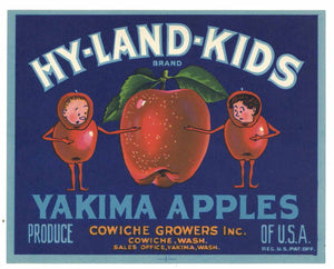Hy-Land-Kids Brand Vintage Cowiche Washington Apple Crate Label, gp