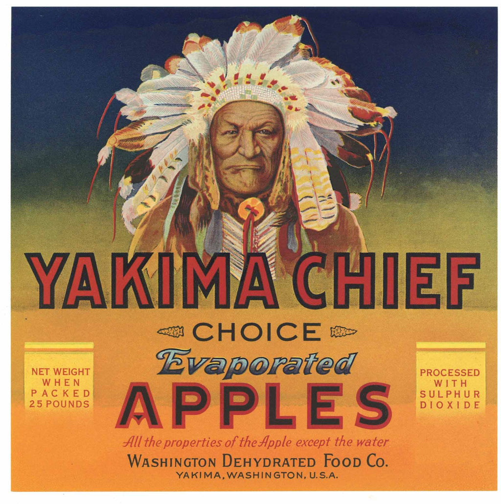 Yakima Chief Brand Vintage Washington Apple Crate Label, s