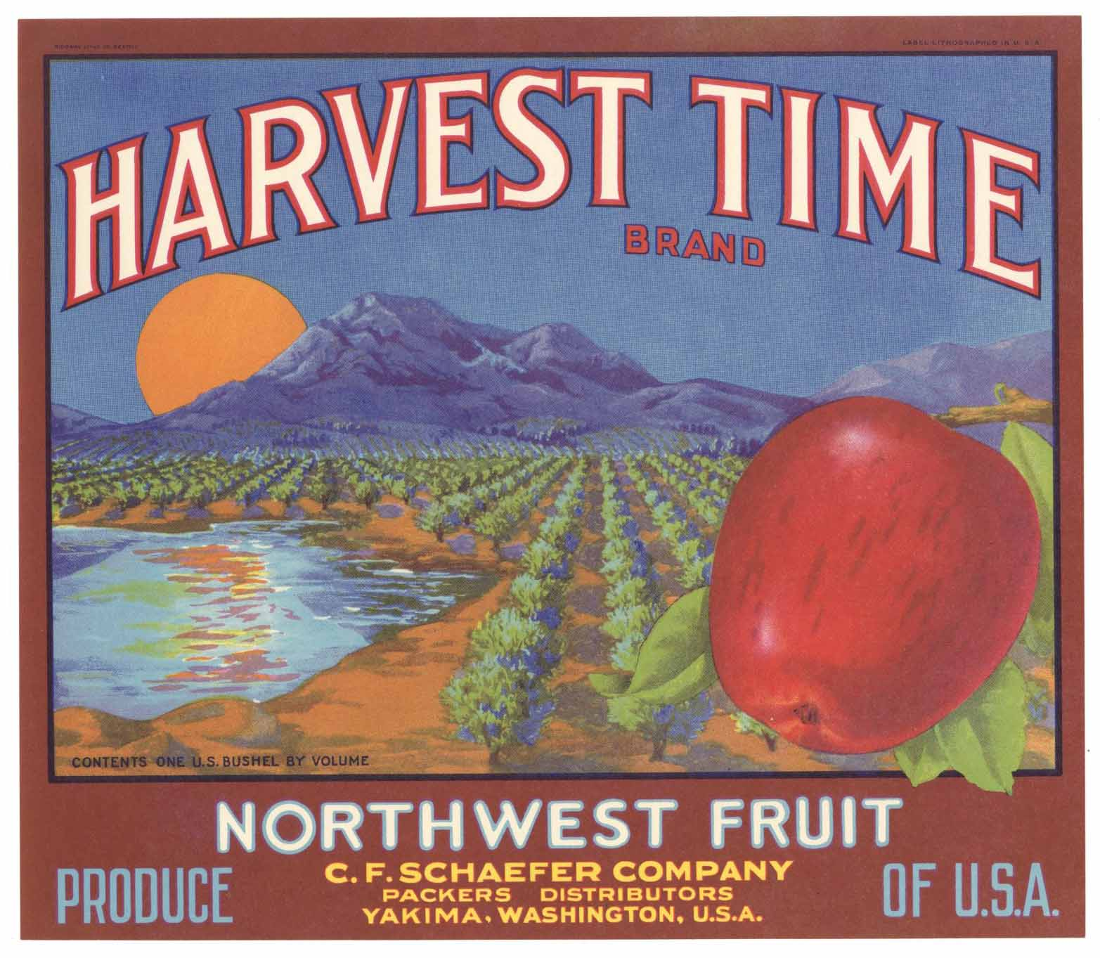 Harvest Time Brand Vintage Yakima Washington Apple Crate Label