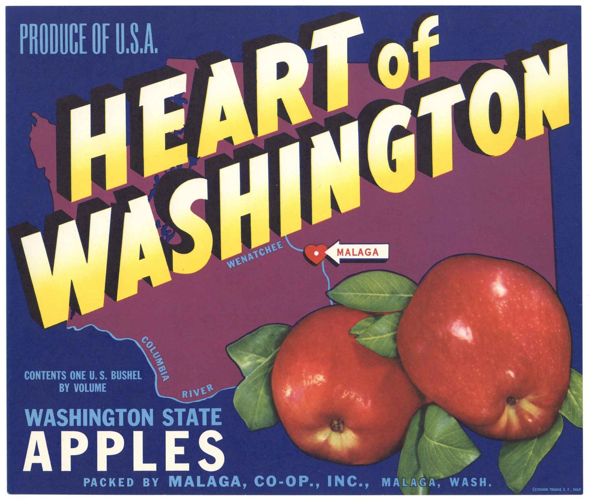 Heart of Washington Brand Vintage Malaga Apple Crate Label