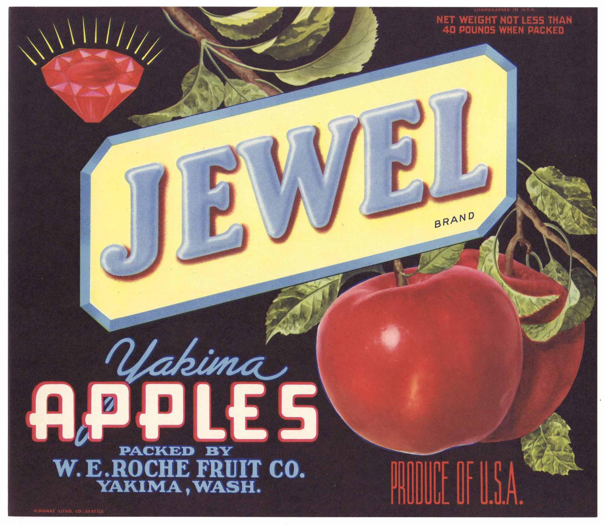 Jewel Brand Vintage Yakima Washington Apple Crate Label