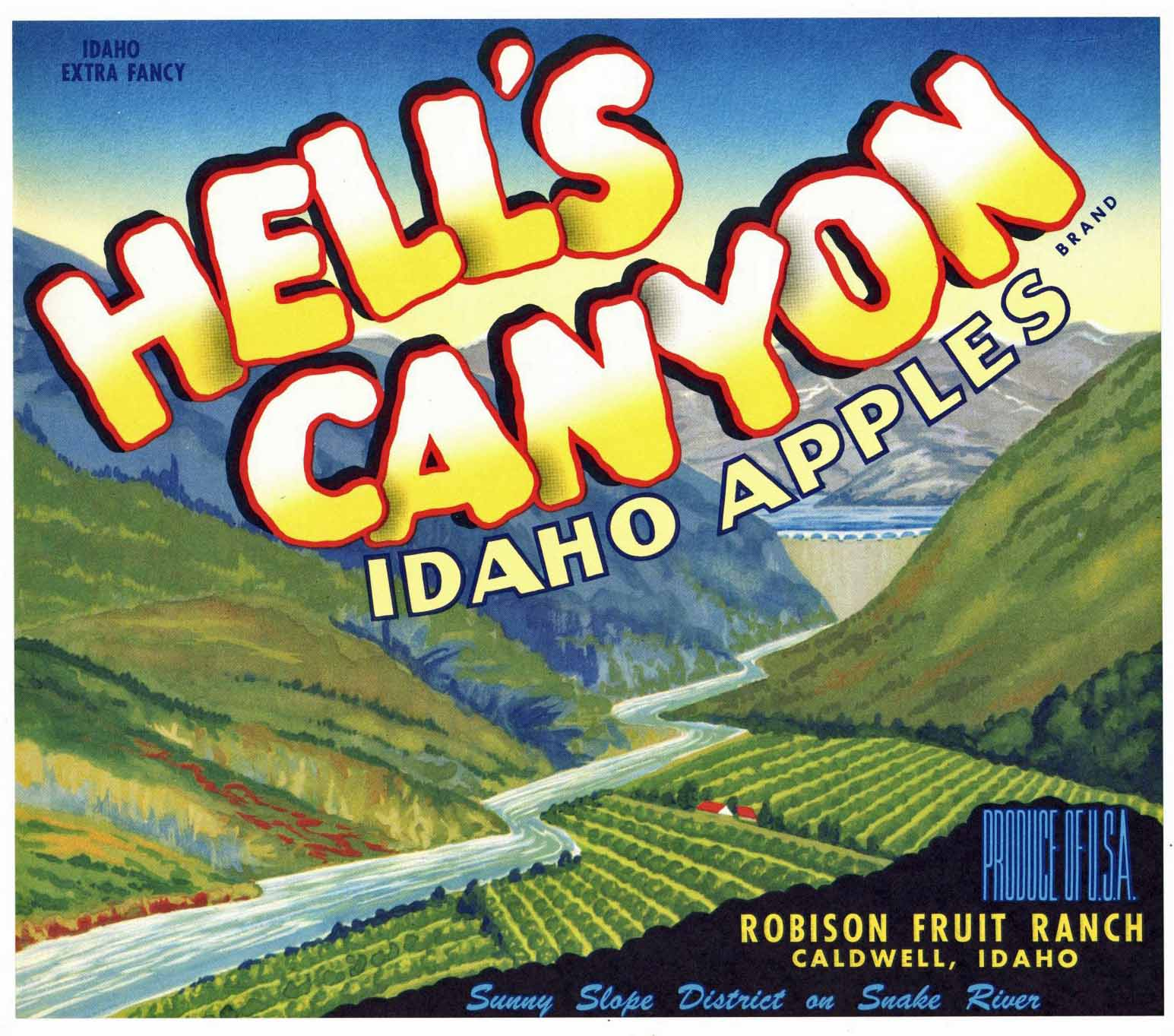 Hell's Canyon Brand Vintage Caldwell Idaho Apple Crate Label
