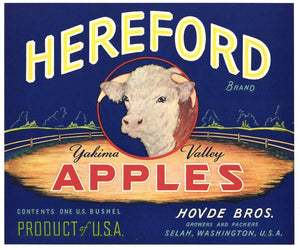 Hereford Brand Vintage Yakima Washington Apple Crate Label