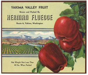 Herman Fluegge Brand Vintage Washington Apple Crate Label