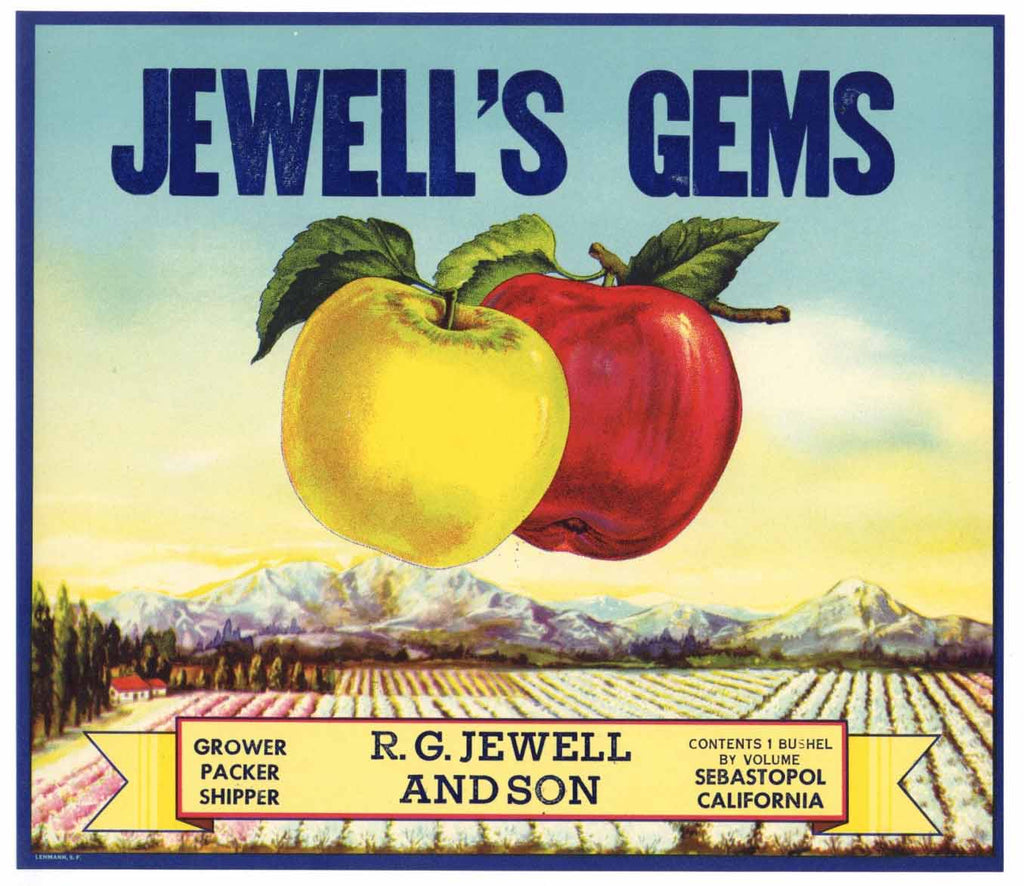 Jewell's Gems Brand Vintage Sebastopol Apple Crate Label s
