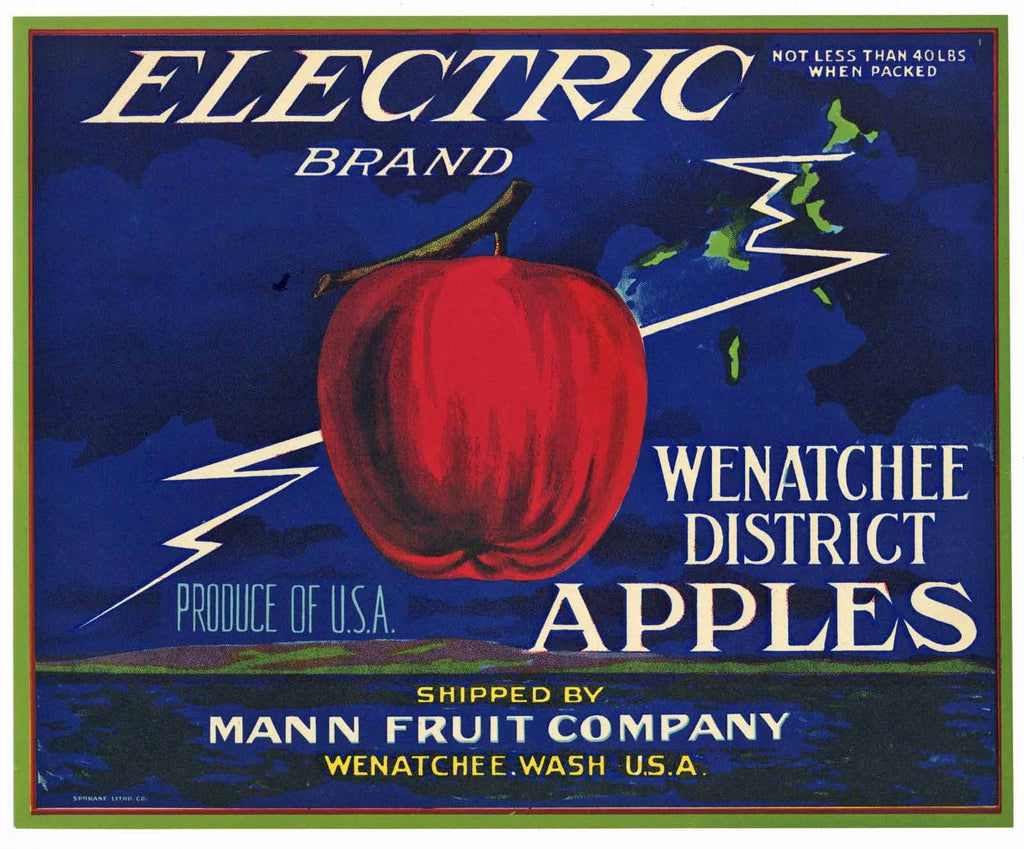 Electric Brand Vintage Washington Apple Crate Label