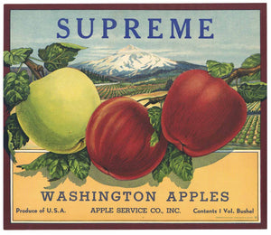 Supreme Brand Vintage Washington Apple Crate Label