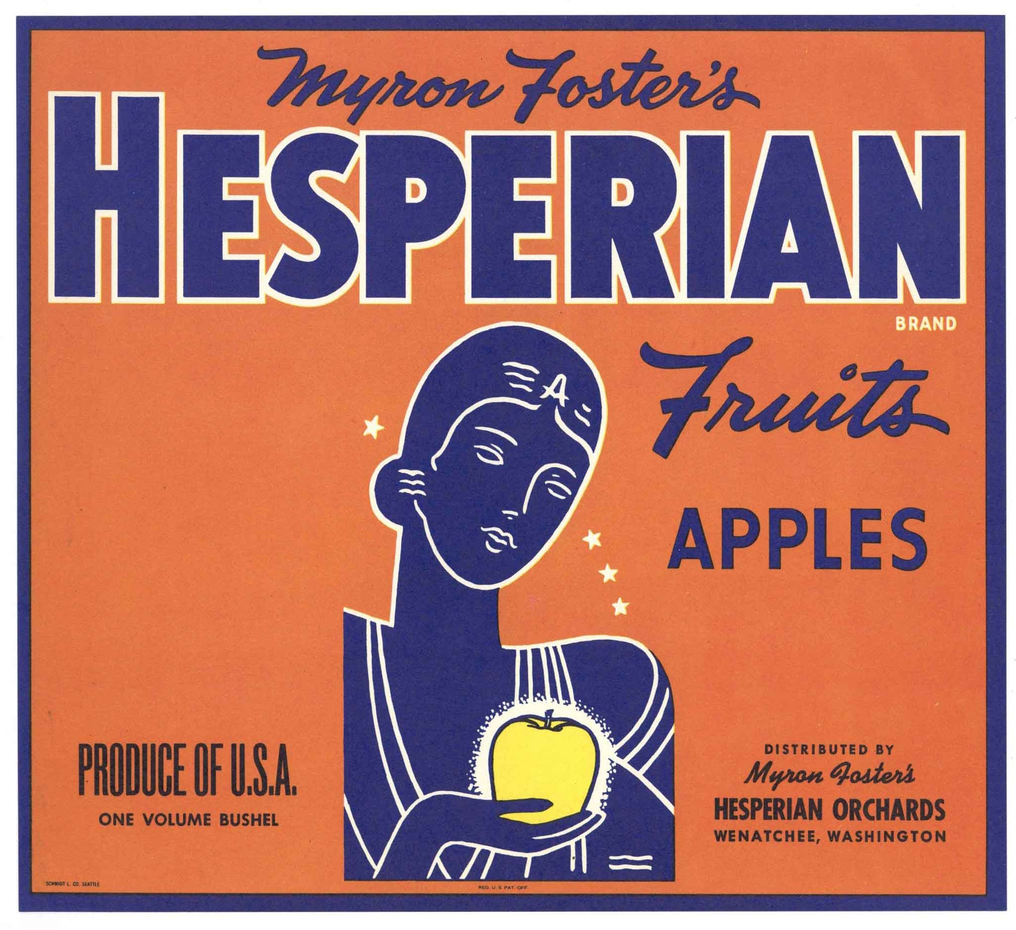 Hesperian Brand Vintage Wenatchee Washington Apple Crate Label