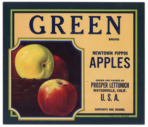 Green Brand Vintage Watsonville Apple Crate Label