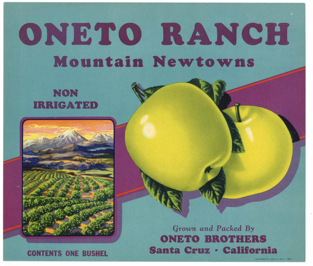 Oneto Ranch Brand Vintage Santa Cruz California Apple Crate Label