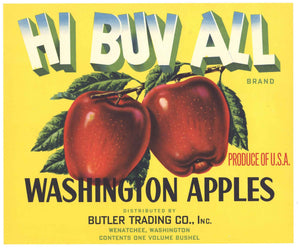 Hi Buv All Brand Vintage Wenatchee Washington Apple Crate Label, y