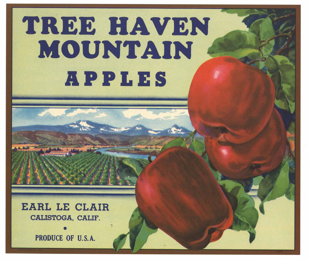 Tree Haven Brand Vintage Calistoga California Apple Crate Label