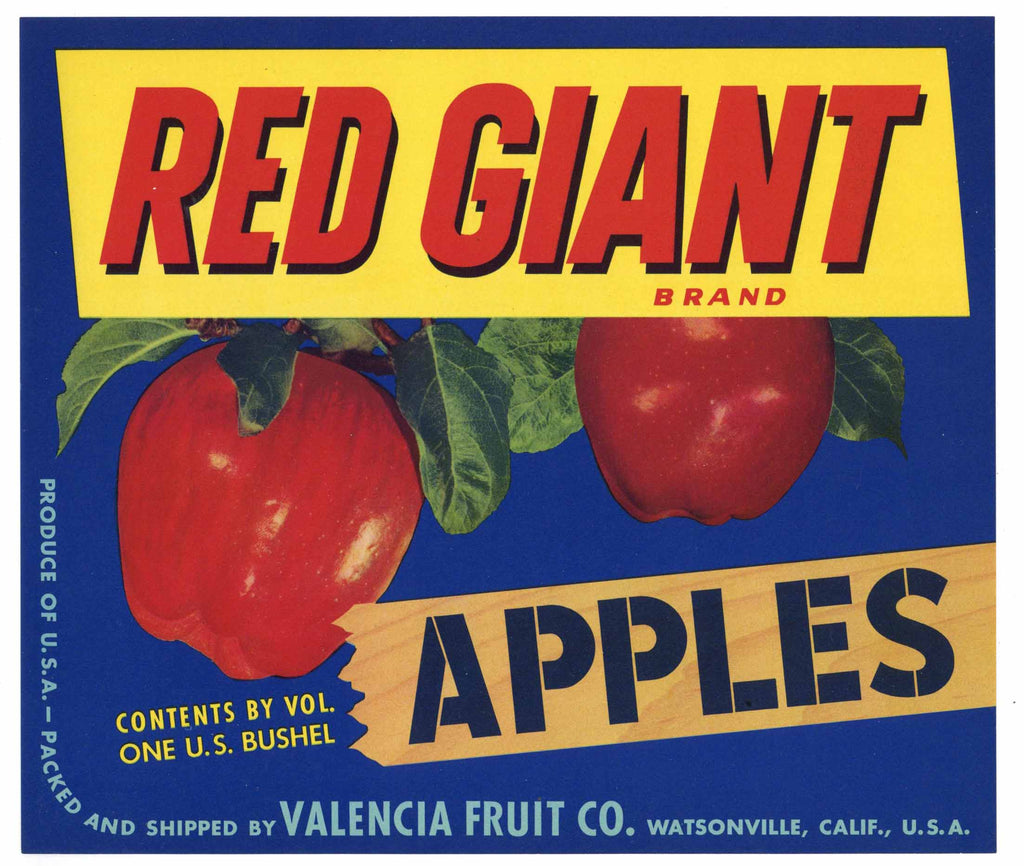 Red Giant Brand Vintage Watsonville Apple Crate Label