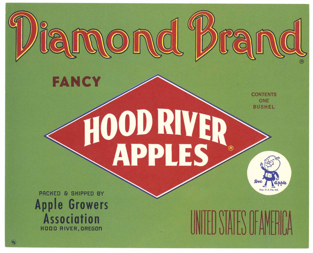Diamond Brand Vintage Hood River Oregon Apple Crate Label