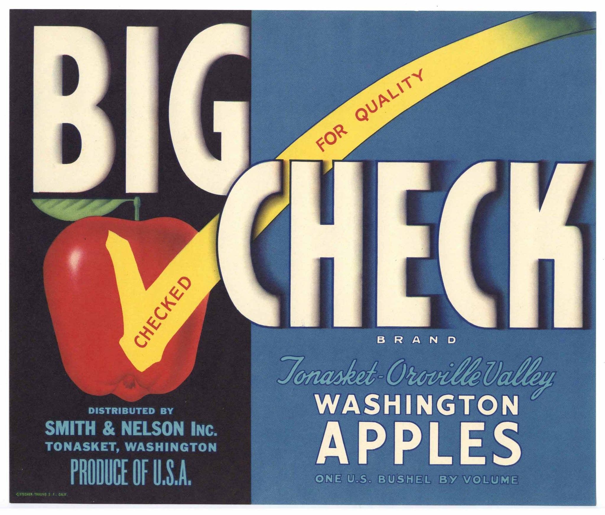 Big Check Brand Vintage Tonasket Washington Apple Crate Label