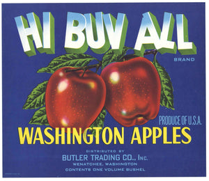 Hi Buv All Brand Vintage Wenatchee Washington Apple Crate Label, b