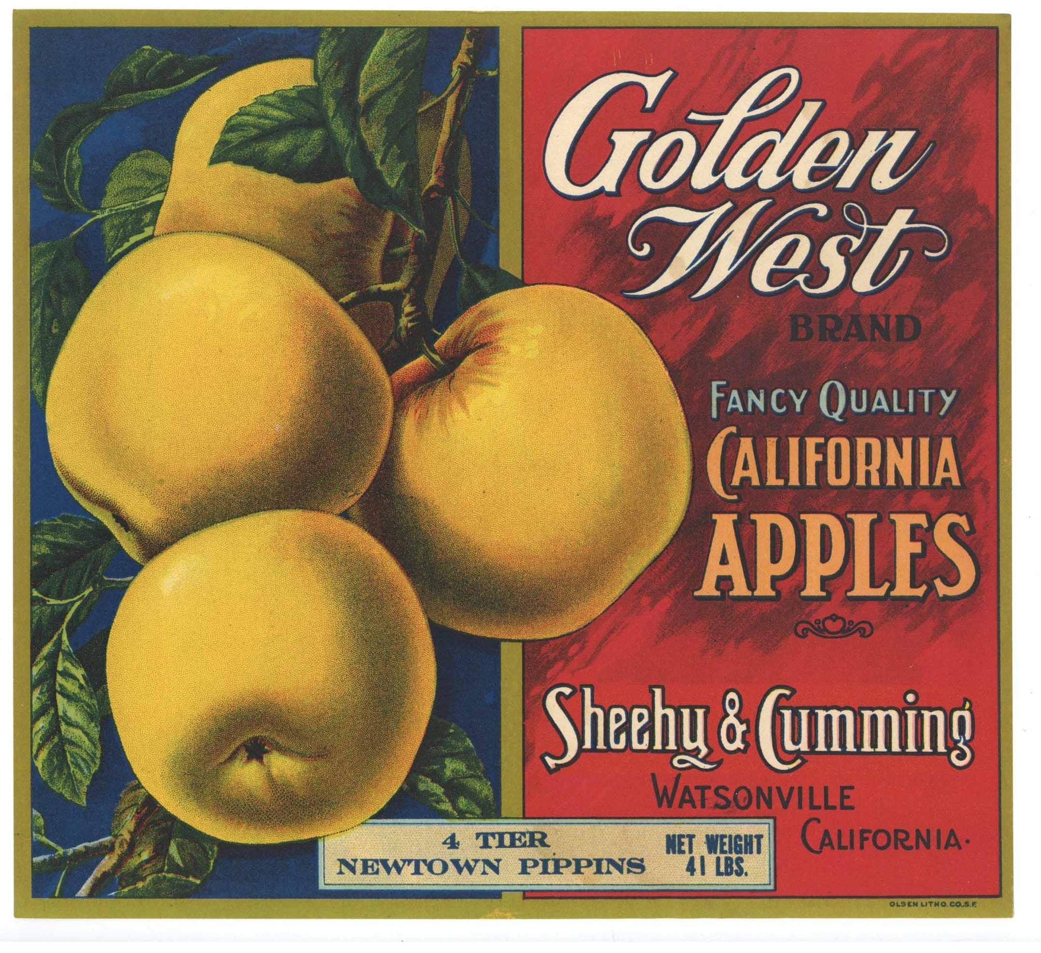 Golden West Brand Vintage Watsonville Apple Crate Label