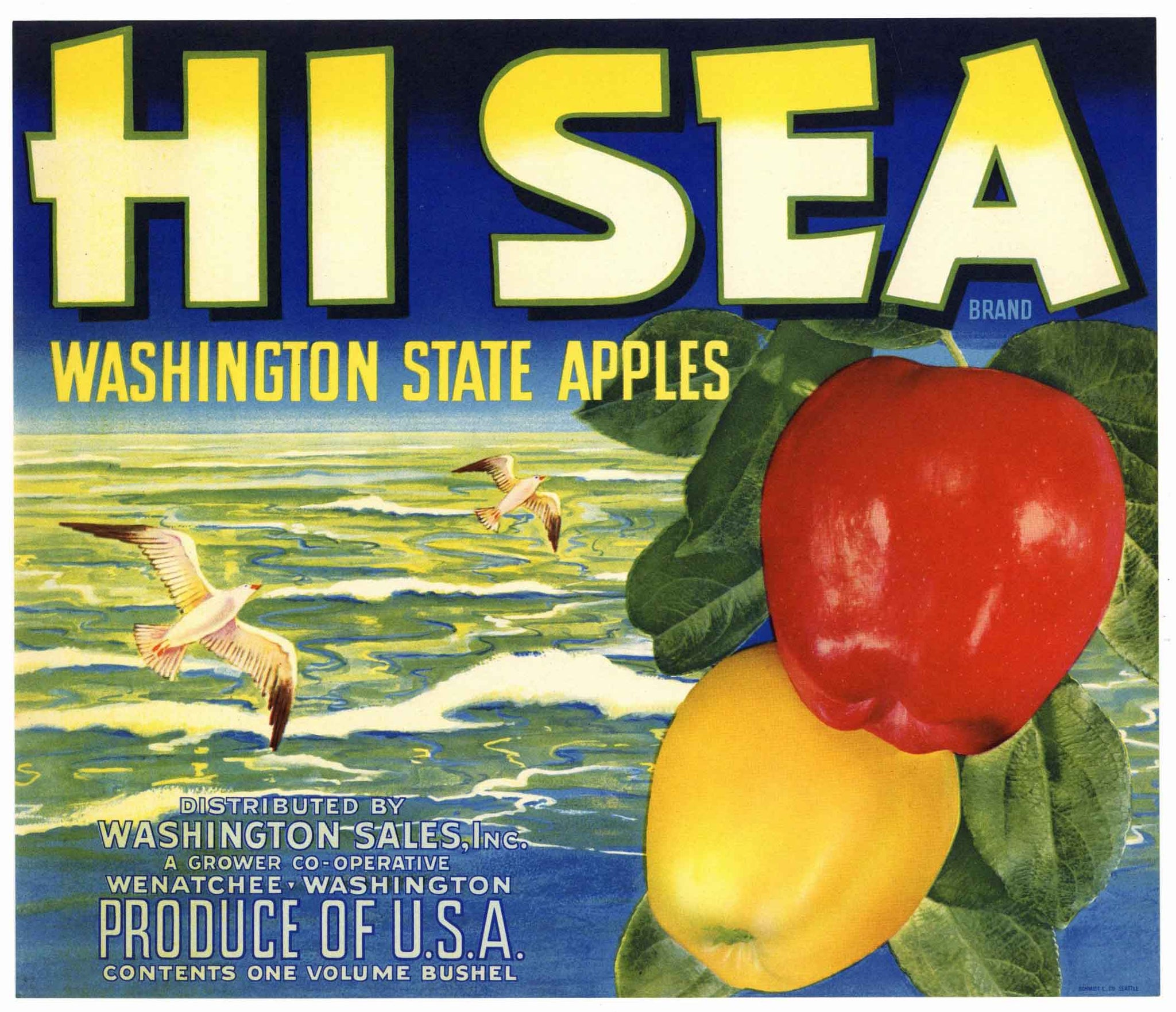 Hi Sea Brand Vintage Wenatchee Washington Apple Crate Label