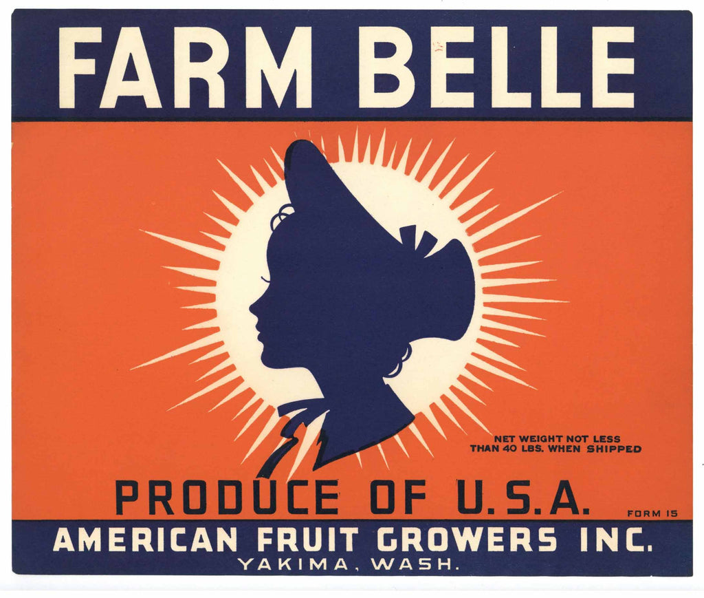 Farm Belle Brand Vintage Yakima Washington Apple Crate Label