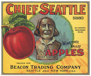 Chief Seattle Brand Vintage Wenatchee Valley Apple Crate Label
