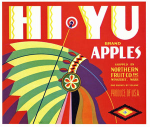 Hi Yu Brand Vintage Wenatchee Washington Apple Crate Label